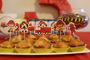 Firefighter Fireman Party Stuff (balloon, cake toppers, banner)
