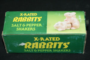 X-RATED RABBITS SALT AND PEPPER SHAKERS