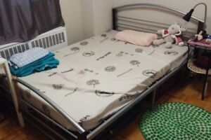 double bed,tea tables,microwave,standing fan,rice cooker,kettle