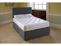 Small double fabric brand new bed with 1 drawer head board and memory mattress