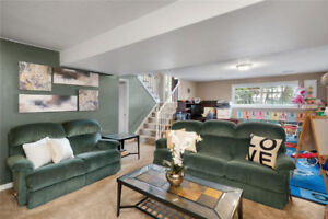 Reclining couch and love seat, coffee and two side tables set