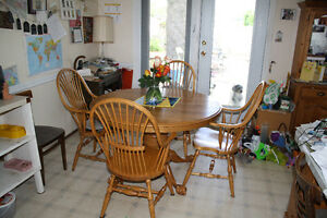CUSTOM MADE OAK TABLE AND 4 CHAIRS