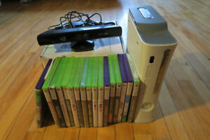 Xbox 360 console with kinect and 17 games