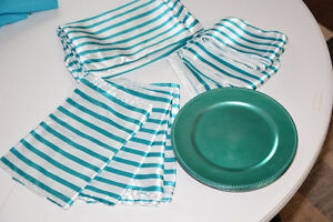 Turquoise Satin Wedding Linens Head Table for 12, Party