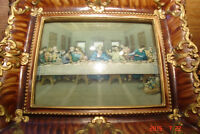 ANTIQUE PICTURE OF LAST SUPPER - AMAZING FRAME WITH BOWED GLASS
