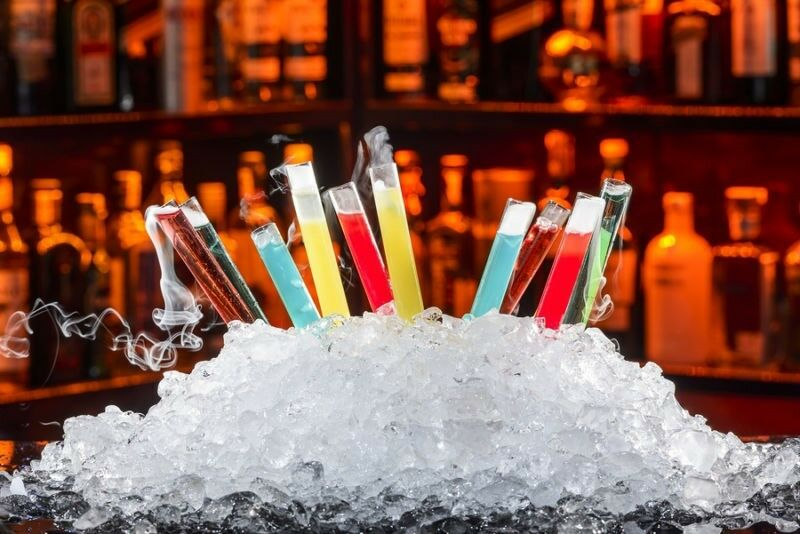 Use test tubes as a fun way to present Halloween drinks.