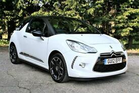 2012 CITROEN DS3 1.6 PETROL DSTYLE + WHITE WITH A BLACK ROOF.ONLY 34000 MILES.