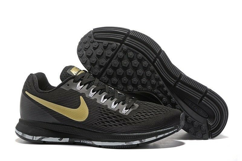 26051cb56ba NIKE AIR ZOOM PEGASUS 34 MEN S RUNNING SHOE UK Size 8.5 Black Gold ...