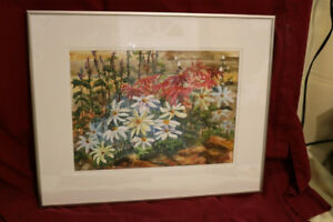 ORIGINAL WATERCOLOUR ALICE HANLIN FLOWER GARDEN 16 X 20 FRAMED