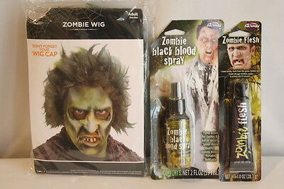 Zombie Wig and Zombie Flesh Make Up Costume Stage Makeup