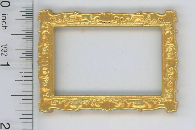 Dollhouse Miniature 1:12 Small Wood Rectangular Gold Picture Frame w/Real Glass