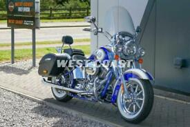 2014 HARLEY-DAVIDSON CVO FLSTNSE SOFTAIL DELUXE in CANDY COBALT/WHITE GOLD PEARL