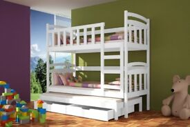 SPECIAL OFFER! Bunk Bed white DAMIAN with Mattresses Storage Container Pine Wood New