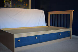 Twin mates bed with Three drawers
