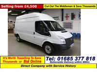 2013 - 13 - FORD TRANSIT T350 2.2TDCI 125PS RWD HIGH TOP LWB VAN (GUIDE PRICE)