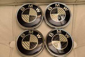 Brand New BMW SET OF 4 CARBON FIBER WHEEL HUB CAPS 68MM EMBLEM