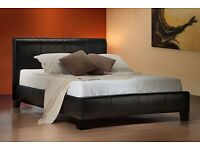 BIG OFFER DOUBLE LEATHER BED free mattress fast delivery