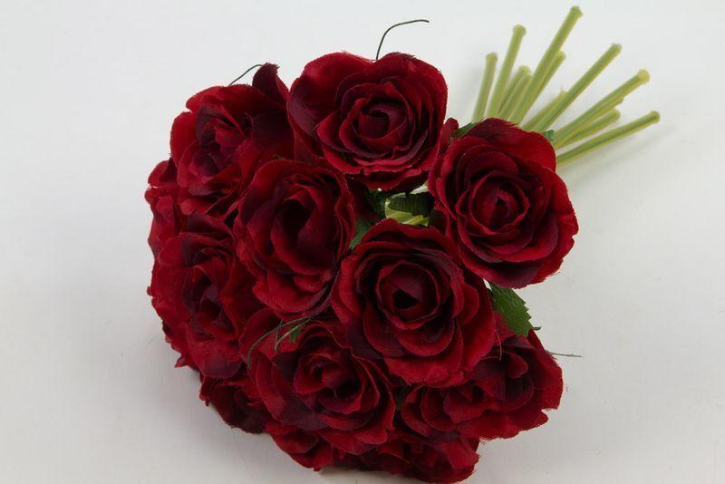 Rosenbouquet 24cm Rot Mit 12 Rosen Dp Kunstblumen Künstlicher Strauß Rosen Rosen