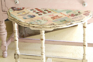 ACCENT SIDE TABLE, ANTIQUE, REFINISHED, SHABBY CHIC