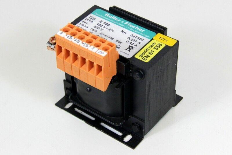 Roller & Fischer E 100 Transformer 100 VA Pri. 400VAC Sec. 230VAC 0,43A