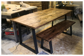 Rustic reclaimed industrial dining table steel trapezium legs