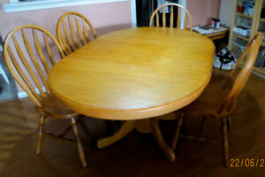 Solid Oak Pedestal Dining Table Set - $225