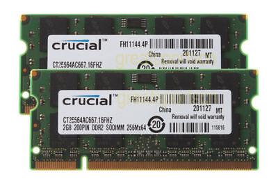 - Crucial 4GB 2X 2GB 2RX8 DDR2 667mhz PC2-5300 Laptop SODIMM RAM Memory CL5 1.8V