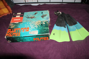 Vintage Scuba Gear FINS, BOOKS, MASK,