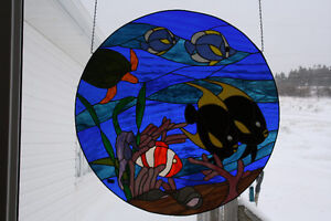 Stained Glass Tropical Fish 32 inch in diameter