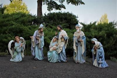 Nativity Set 5pc Shades of Blue Smaller 15 inch Indoor Outdoor Garden Statues Indoor Nativity Set