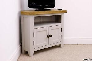 Arklow Painted Oak Corner TV Stand / Grey Solid TV Unit / DVD Storage Cabinet
