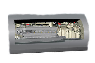 MPM 72017 Detail Resin Set U-Boot IX Diesel Engine Section in 1:72