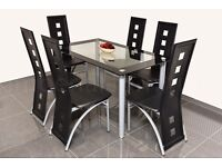 MODERN GLASS DINING TABLE AND CHAIRS BLACK OR WHITE WITH 4/6 FAUX LEATHER CHAIRS