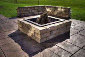 FIRE PIT KITS CONCRETE STONE WITH METAL RING SALE 15% OFF