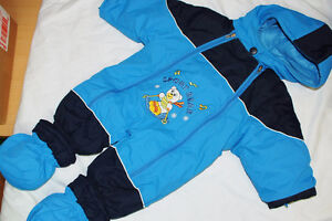 6-12 month Baby Boy Blue Snow-suit with Booties, Bear