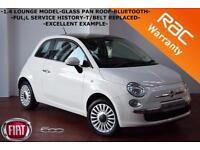 2010 Fiat 500 1.4 ( s/s ) LOUNGE-GLASS PAN ROOF-B/TOOTH-T/BELT REPLACED-