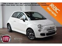 2013 Fiat 500 S 1.2 69bhp ( s/s ) -ONLY 26K SERVICE HISTORY-B/TOOTH-FINANCE-