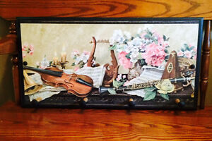 Black Wooden Wall Plaque with pegs. Music theme. Cambridge Kitchener Area image 4