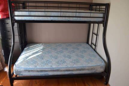 Black metal triple bunk bed Revesby Bankstown Area Preview