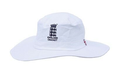 HIGH QUALITY WHITE CRICKET SUNHAT WITH ENGLAND CRICKET LOGO L/XL MENS 60-61CM