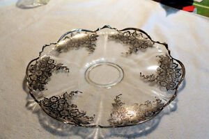 Silver filigree tray, glassware and candy dishes