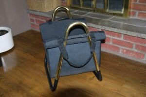 Fireplace Wood / Log Holder with Canvas Carrier - BRASS Only $10