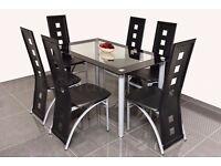 MODERN GLASS DINING TABLE AND CHAIRS SET - SQUARE CUT OUTS BARGAIN PRICE CLEARANCE ON SETS
