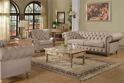 2Pc Sofa Traditional Beige Linen Tufted Rolled Arm Couch Sofa Loveseat Furniture