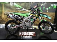 2014 KAWASAKI KXF 450 MOTCROSS BIKE RENTHAL HANDLEBARS, APICO FOOTPEGS, NEW GRIP