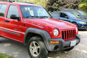 2002 Red Jeep Liberty SUV, Crossover