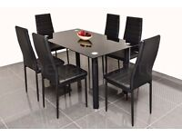 dining table and chairs set black glass with 4 or 6 faux leather