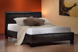 🔥💖💥COMPLETE BED & MATTRESS £105💖90% OFF❤Brand New Double/King Leather Bed+Mattress (Black/Brown)