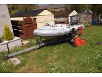 Avon 3.4m RIB. 25hp Suzuki outboard. Snipe trailer