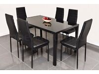 STUNNING GLASS DINING TABLE SET BLACK OR WHITE WITH 4 6 FAUX LEATHER CHAIRS BRAND